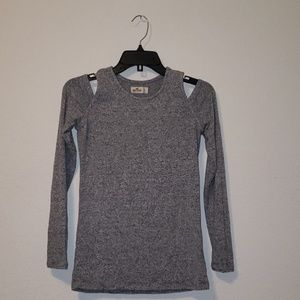 Hollister Grey Long Sleeve with Shoulder cut outs